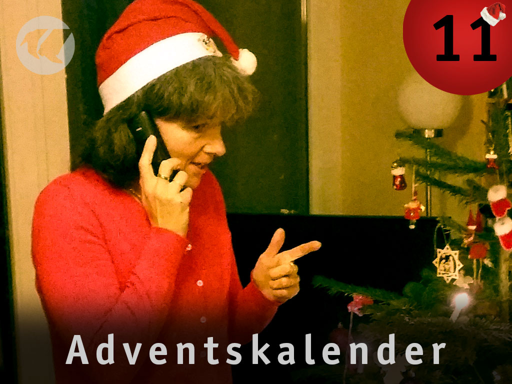 11. Advent: Aggie beim Telefonieren